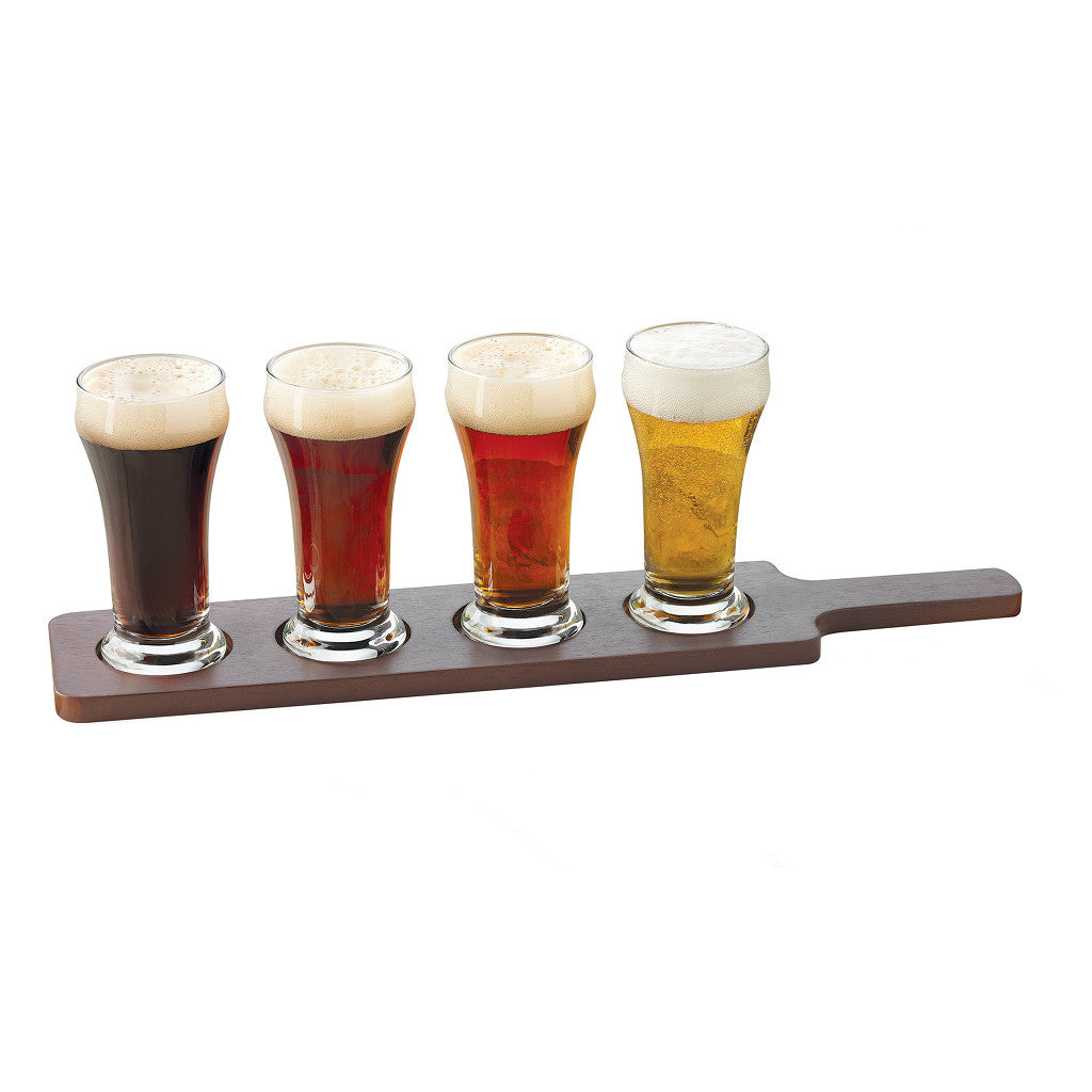 Libbey 6oz Pilsner Tasting Glass and Wood Serving Flight Set