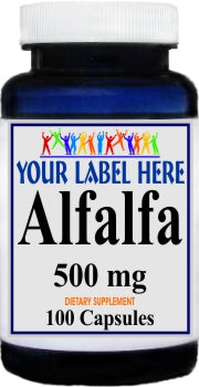 AlfAlfa 500mg 100caps or 200caps Private Label 25,100,500 Bottle Price
