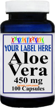 Aloe Vera 450mg 100caps or 200caps Private Label 25,100,500 Bottle Price