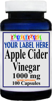 Apple Cider Vinegar 1000mg 100caps or 200caps Private Label 25,100,500 Bottle Price