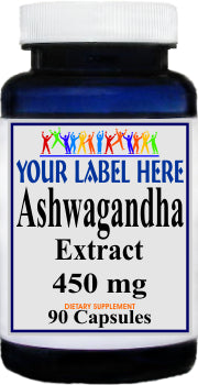 Ashwagandha Standardized Extract 450mg 90caps or 180caps Private Label 100 Bottle Price