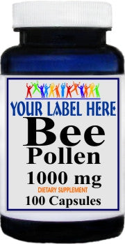 Bee Pollen 1000mg 100caps or 200caps Private Label 100 Bottle Price