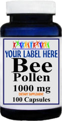 Private Label Bee Pollen 1000mg 100caps or 200caps Private Label 12,100,500 Bottle Price