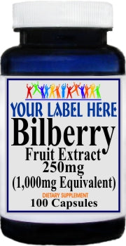Private Label Bilberry Extract Equivalent 1000mg 100caps or 200caps Private Label 12,100,500 Bottle Price
