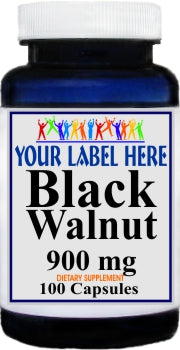 Black Walnut 900mg 100caps or 200caps Private Label 25,100,500 Bottle Price