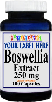 Private Label Boswellia Standardized Extract 250mg 100caps or 200caps Private Label 12,100,500 Bottle Price