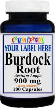 Burdock Root 900mg 100caps Private Label 25,100,500 Bottle Price