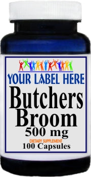 Butchers Broom 500mg 100caps or 200caps Private Label 25,100,500 Bottle Price