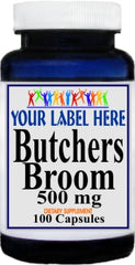 Private Label Butchers Broom 500mg 100caps or 200caps Private Label 12,100,500 Bottle Price