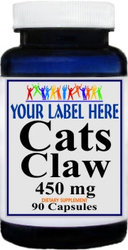 Cats Claw 450mg 90caps or 180caps Private Label 25,100,500 Bottle Price