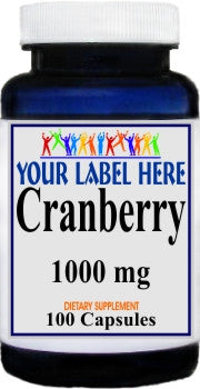 Cranberry 1,000mg 100caps or 200caps Private Label 25,100,500 Bottle Price