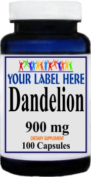Private Label Dandelion 900mg 100caps or 200caps Private Label 12,100,500 Bottle Price