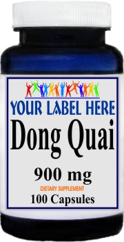 Dong Quai 900mg 100caps or 200caps Private Label 25,100,500 Bottle Price