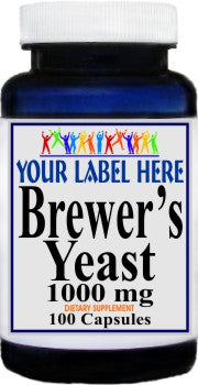 Brewers Yeast 1000mg 100caps or 200caps Private Label 25,100,500 Bottle Price