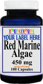 Private Label Red Marine Algae 450mg 100caps or 200caps Private Label 12,100,500 Bottle Price