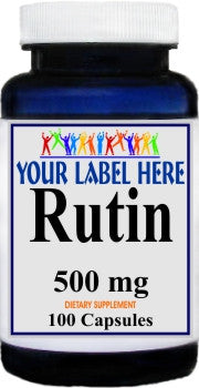 Private Label Rutin 500mg 100caps or 200caps Private Label 12,100,500 Bottle Price