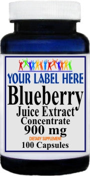 Blueberry Juice Extract Concentrate 900mg 100caps or 200caps Private Label 100 Bottle Price