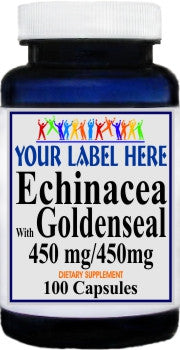 Private Label Echinacea with Goldenseal 450mg 100caps or 200caps Private Label 12,100,500 Bottle Price
