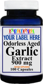 Odorless Aged Garlic Extract 900mg 100caps or 200caps Private Label 25,100,500 Bottle Price