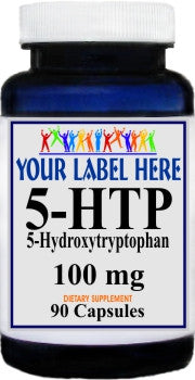 5-HTP 100mg 90caps or 180caps Private Label 100 Bottle Price