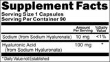 Private Label Hyaluronic Acid 100mg 90caps or 180caps Private Label 12,100,500 Bottle Price
