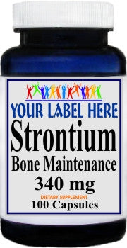 Strontium Bone Maintenance 340mg 100caps or 200caps Private Label 25,100,500 Bottle Price