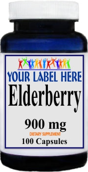 Private Label Elderberry 900mg 100caps or 200caps Private Label 12,100,500 Bottle Price