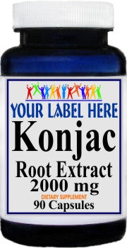 Private Label Konjac Root Extract 2000mg 90caps or 180caps Private Label 12,100,500 Bottle Price