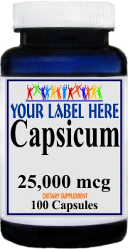 Capsicum 25,000mcg 100caps Private Label 25,100,500 Bottle Price