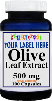 Private Label Olive Leaf Extract 500mg 100caps Private Label 12,100,500 Bottle Price