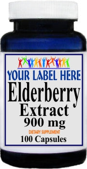 Private Label Elderberry Extract 900mg 100caps or 200caps Private Label 12,100,500 Bottle Price