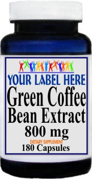 Private Label Green Coffee Bean Extract 800mg 180caps Private Label 12,100,500 Bottle Price
