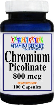 Chromium Picolinate 800mcg 100caps or 200caps Private Label 25,100,500 Bottle Price