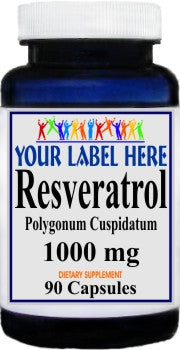 Resveratrol 1000mg 90caps or 180caps Private Label 25,100,500 Bottle Price