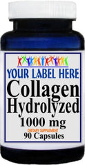 Collagen Hydrolyzed 1000mg 90caps or 180caps Private Label 25,100,500 Bottle Price