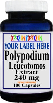 Polypodium Leucotomos Extract 240mg 100caps or 200caps Private Label 25,100,500 Bottle Price