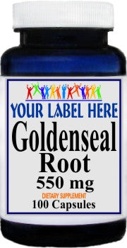 Private Label Goldenseal Root 550mg 100caps or 200caps Private Label 12,100,500 Bottle Price