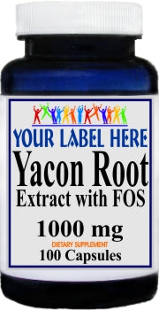 Private Label Yacon Root Extract 1000mg 100caps or 200caps Private Label 12,100,500 Bottle Price