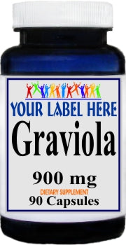 Graviola 900mg 90caps or 180caps Private Label 25,100,500 Bottle Price