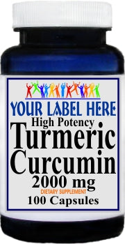 Private Label Turmeric Curcumin 2000mg 100caps or 200caps Private Label 12,100,500 Bottle Price