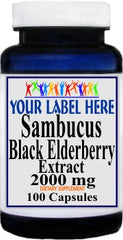 Private Label Sambucus Black Elderberry Extract 2000mg 100caps or 200caps 12,100,500 Bottle Price