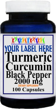 Private Label Turmeric Curcumin Black Pepper 2000mg 100caps or 200caps Private Label 12,100,500 Bottle Price