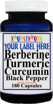 Private Label Berberine Turmeric Curcumin Black Pepper 180caps Private Label 12,100,500 Bottle Price