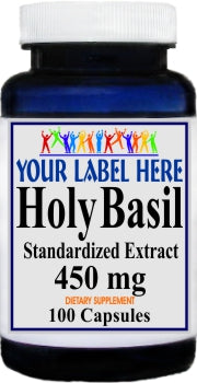 Private Label Holy Basil Standardized Extract 450mg 100caps or 200caps Private Label 12,100,500 Bottle Price
