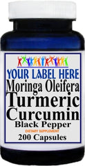 Private Label Moringa Oleifera Turmeric Curcumin Black Pepper 200caps Private Label 12,100,500 Bottle Price