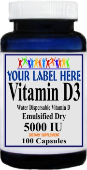 Private Label Vitamin D3 (Emulsified Dry) 5000IU 100caps or 200caps Private Label 12,100,500 Bottle Price