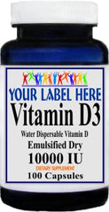 Private Label Vitamin D3 (Emulsified Dry) 10000IU 100caps or 200caps Private Label 12,100,500 Bottle Price