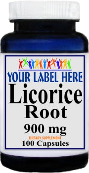Private Label Licorice Root 900mg 100caps or 200caps Private Label 25,100,500 Bottle Price