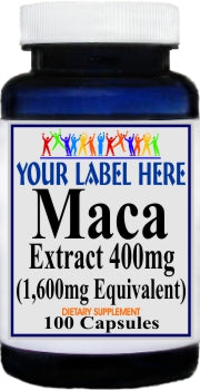 Private Label Maca Extract Equivalent 1600mg 100caps or 200caps Private Label 12,100,500 Bottle Price