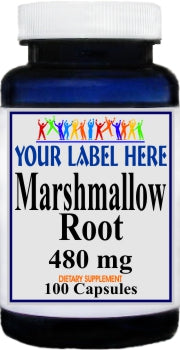 Private Label Marshmallow Root 480mg 100caps Private Label 25,100,500 Bottle Price